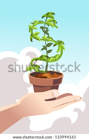 A vector illustration of a hand holding a plant shaped like a dollar sign