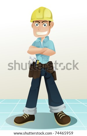 A vector illustration of a handyman with his tools