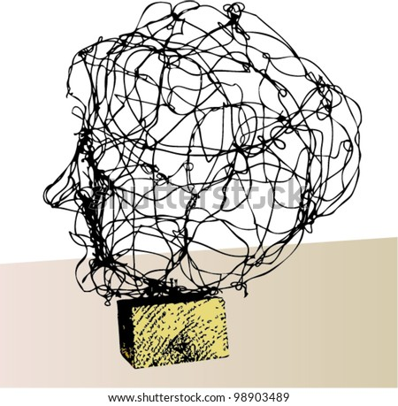 A vector illustration of a head made of wire.