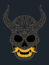 A vector illustration of a Japanese Oni mask with sugar skull inspired filigree details and golden teeth.