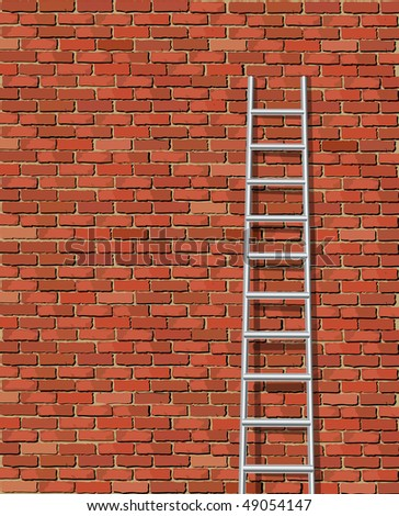 A vector illustration of a ladder against and old wall with space for text