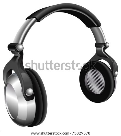 A vector illustration of a large pair of music headphones.