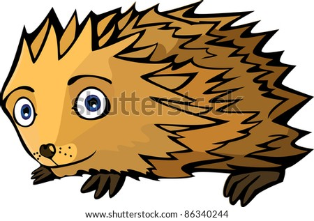 A vector illustration of a little funny Hedgehog. Can be recolored or scaled without problems and quality loss