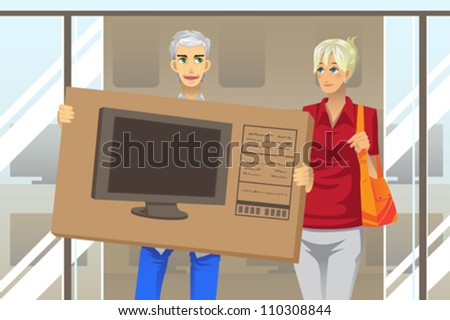 A vector illustration of a mature couple buying a big screen television