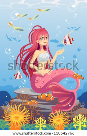 A vector illustration of a mermaid in the ocean surrounded by fish