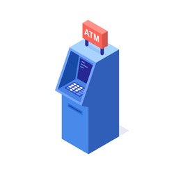 A vector illustration of a modern ATM cash machine. ATM Cash machine. Bank cash machine icon.