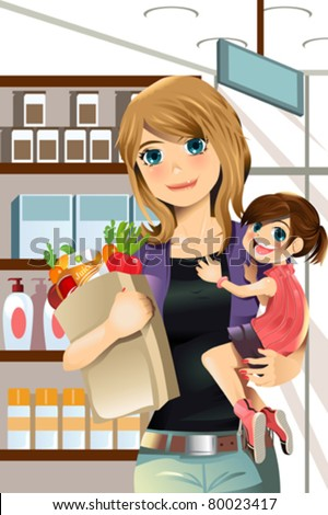 A vector illustration of a mother and a daughter going grocery shopping