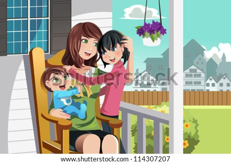 A vector illustration of a mother and her children sitting on a chair in front of their house