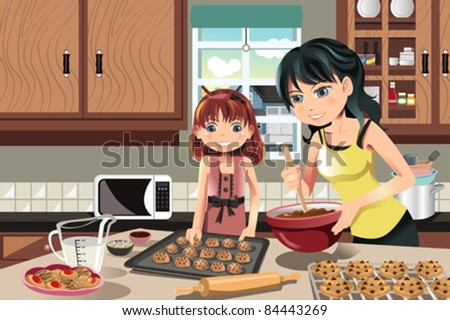 A vector illustration of a mother and her daughter baking cookies in the kitchen