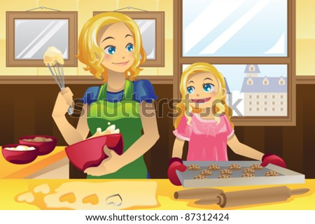 A vector illustration of a mother and her daughter baking cookies in the kitchen - stock vector