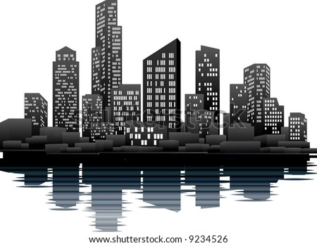 stock vector : A vector illustration of a night time city skyline