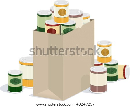 a vector illustration of a paper grocery bag overflowing with canned goods