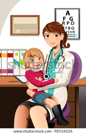 A vector illustration of a pediatrician with a little child sitting on her lap