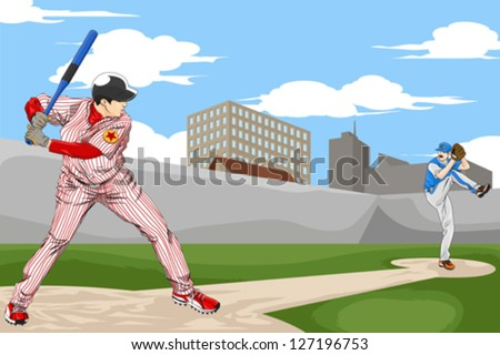 A vector illustration of a people playing baseball