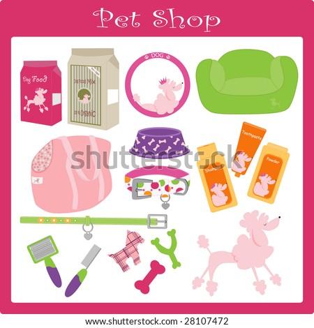 a vector illustration of a pet shop - stock vector