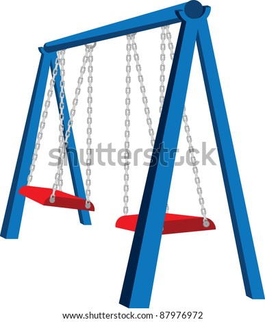 A vector illustration of a playground swing set. - stock vector