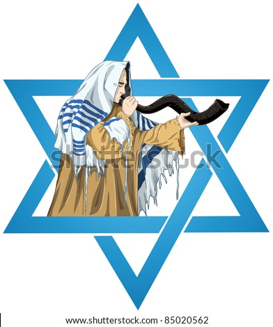 A vector illustration of a Rabbi with Talit blows the shofar with the star of David for the Jewish holiday Yom Kippur.