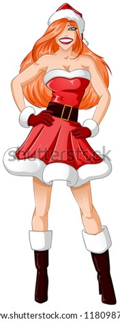 A vector illustration of a red headed woman dressed in sexy Santa Claus clothes for Christmas.