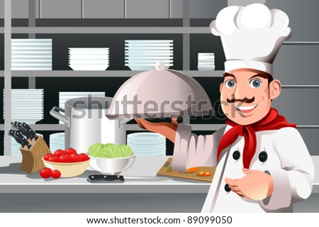 A vector illustration of a restaurant chef holding a plate of food - stock vector