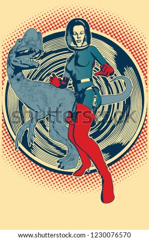 A vector illustration of a retro  sci-fi scene with dinosaurs done in a classic 1950 comic book style, perfect for band fliers, posters, science fiction movie nights, raves, or other events. 5 colors