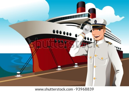 A vector illustration of a sailor in front of a big ship parked at the harbor