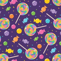 A vector illustration of a seamless repeating pattern of colorful rainbow swirl lollipops and candy