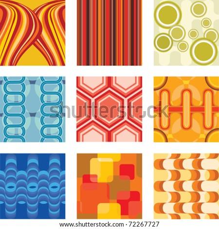 A vector illustration of a set of retro wallpaper