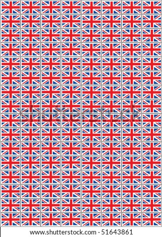 A vector illustration of a sheet of stamps with the Union Jack flag