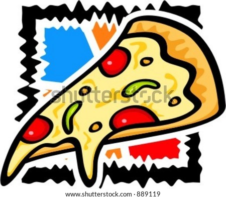 A vector illustration of a slice of pizza. - stock vector