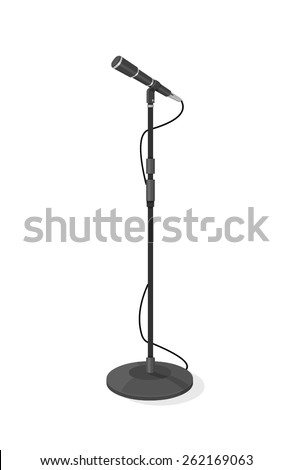 A vector illustration of a stage microphone. Stage microphone Stage microphone with stand.