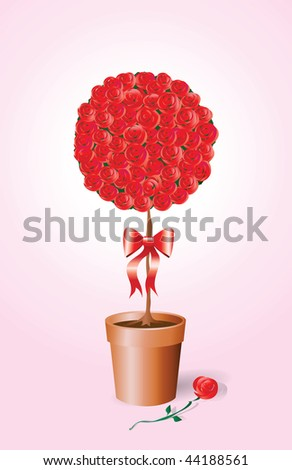 A vector illustration of a standard rose bush tied with a bow.
