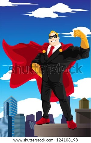 A vector illustration of a superhero businessman wearing a cape standing on top of a building