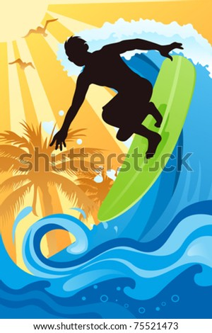 A vector illustration of a surfer surfing in the ocean