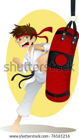 A vector illustration of a teenage boy practicing karate