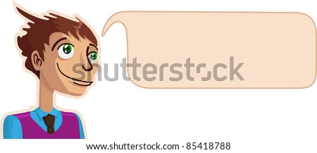 A vector illustration of a thinking guy. All objects can be moved and scaled separately and without quality loss.