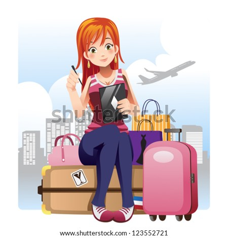 A vector illustration of a traveling girl sitting with her luggage