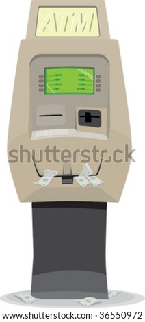 a vector illustration of a very full atm overflowing with money