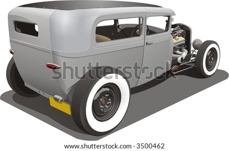 A vector illustration of a vintage hot rod