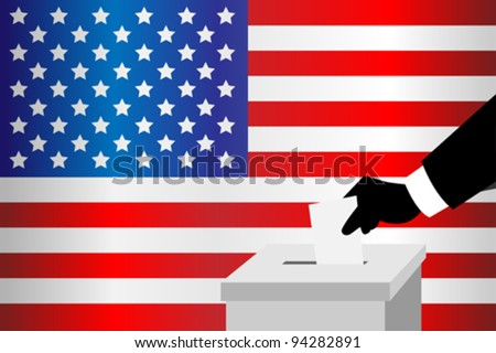 A vector illustration of a voting man inserting his ballot into the ballot box