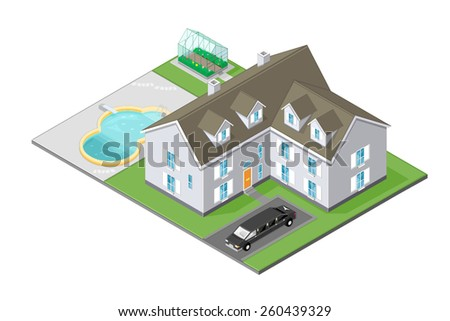 A vector illustration of a wealthy family home. Isometric Mansion House. Mansion House with pool, car and garden.