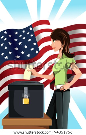 A vector illustration of a woman inserting her votes into the ballot box