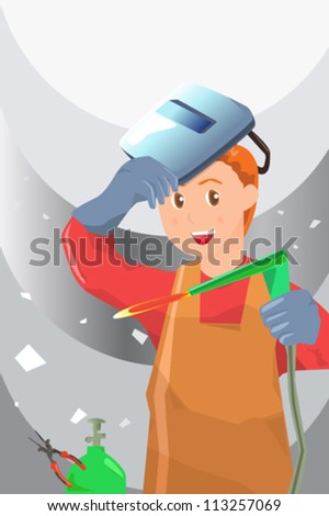 A vector illustration of a working welder