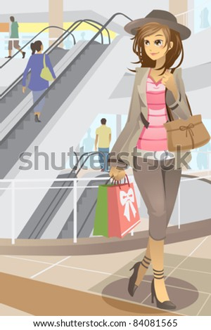A vector illustration of a young modern woman shopping in a shopping mall