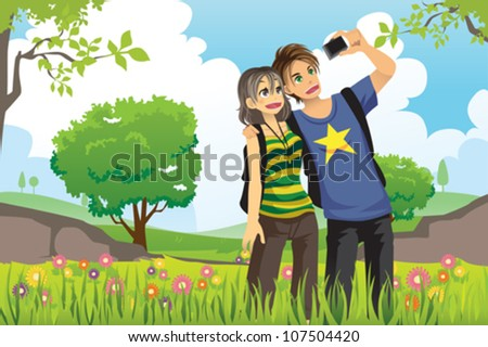 A vector illustration of a young tourist couple taking a picture of themselves