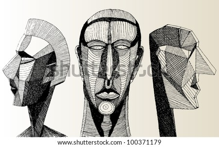 A vector illustration of abstract human heads.