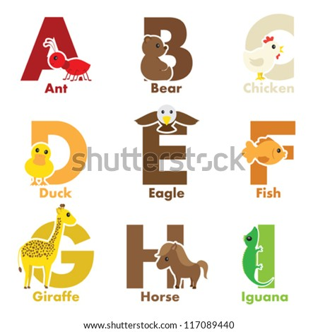 A vector illustration of alphabet animals from A to I