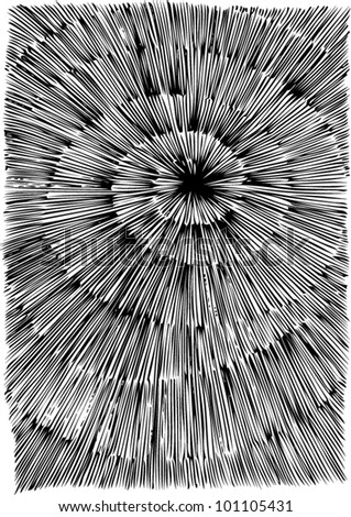 A vector illustration of an abstract black and white 3 dimensional drawing.