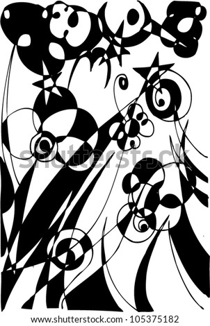 A vector illustration of an abstract black and white 3 dimensional flowers drawing.