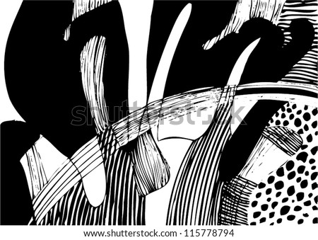 A vector illustration of an abstract black and white drawing.