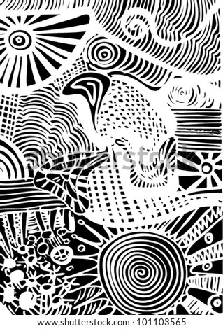 A vector illustration of an abstract black and white pattern drawing.